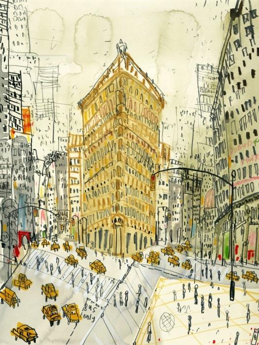 Clare Caulfield/ Flatiron Building, New York (hand-painted screenprint)