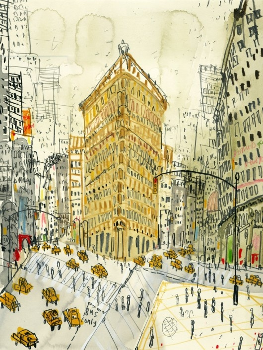 """""""Flatiron Building, New York"""" Clare Caulfield is an artist & printmaker who finds inspiration from travels to NY,Paris, Venice & Prague capturing each city in her own unique style. Her love of drawing & use of line lend themselves perfectly to her work as a printmaker. Screenprinting allows her to transfer the lively original drawings taken from her travel sketchbooks. Within some of her screenprints she includes hand-painted elements resulting in each print being truly unique. Love this!: Hands Paintings, New York Cities, Illustration, Flatiron Building, Nyc, Clare Caulfield, Flats Irons, Newyork, Art Pictures"""