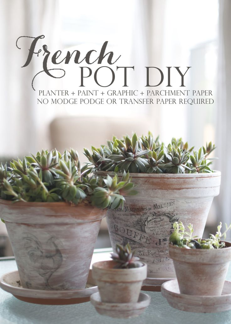 DIY:  French Flower Pots - tutorial shows how to paint & apply graphics to clay pots.