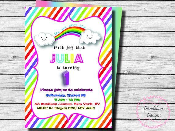 Rainbow invitation first birthday Rainbow invite rainbow