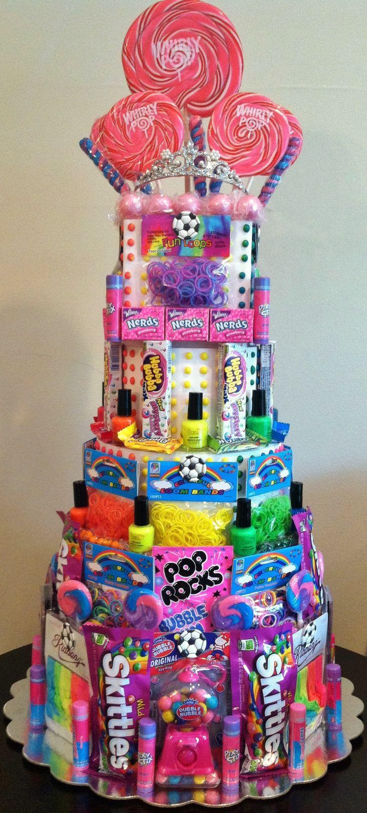 Rainbow Loom Birthday Party! Rainbow Loom Party Favors Candy Cake...I love the idea of a favor cake for any theme