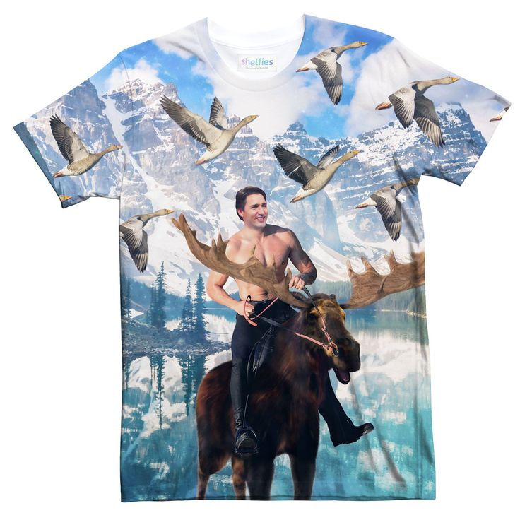 Canada's Prime Minister Justin Trudeau riding topless on a moose? Why, yes it is. #justintrudeau