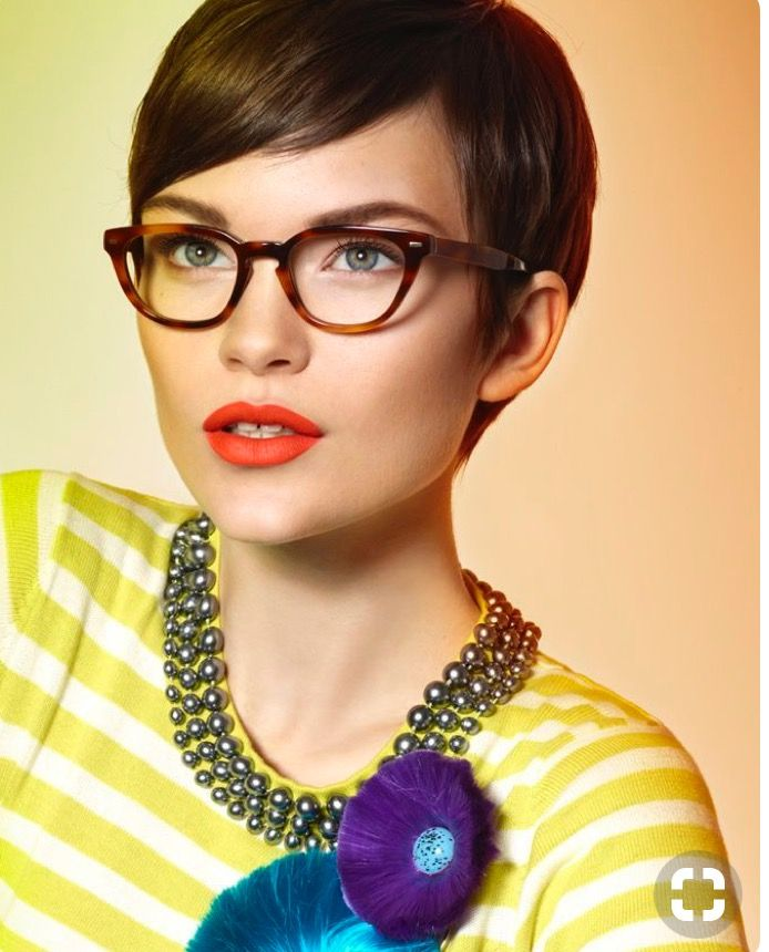 Librarian glasses and pixie cut with red lip!