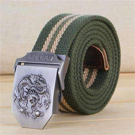 Fashion Men'S Canvas Belt Dragon Metal Tactics Woven Belts Casual High Quality Strap Pants Cool Wild Gift For Male Ceinture