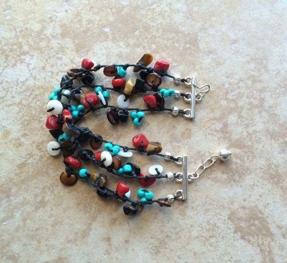 Multistrand pietre perline braccialetto di FrancaandNen su Etsy