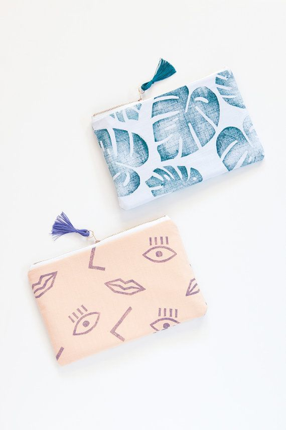 NEW Confetti Face zipper pouch clutch purple by confettiriotshop