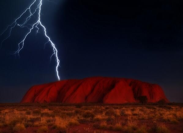 Lightning over Ayers Rock, Australia