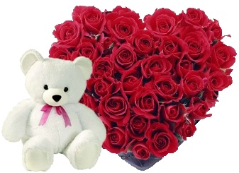 36 Red roses heart shape arrangement + 1 Teddy of 6 inch