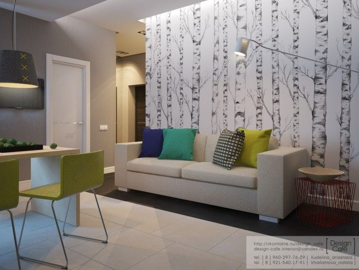 Apartments:Splendid Apartment Design: Young Family Modern Design Young Family Small Apartment Living Area White Cosy Sofa With Multicoloured Throw Pillows Dark Rug Side Table Dining Chairs Desk Pendant Light Artistic Wallpaper