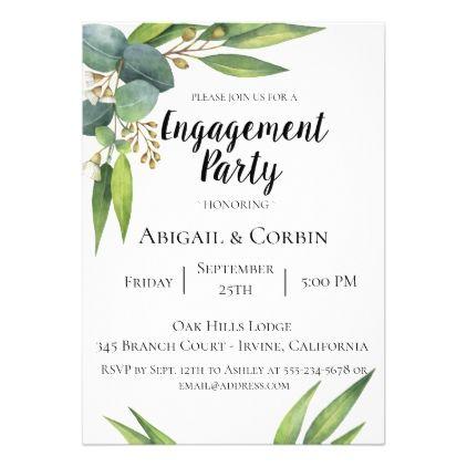 Eucalyptus Foliage Engagement Party Invitation - wedding invitations cards custom invitation card design marriage party