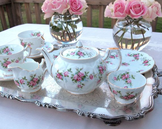 Aynsley Tea Set Grotto Rose Teapot And Cup Made In England 10 Piece