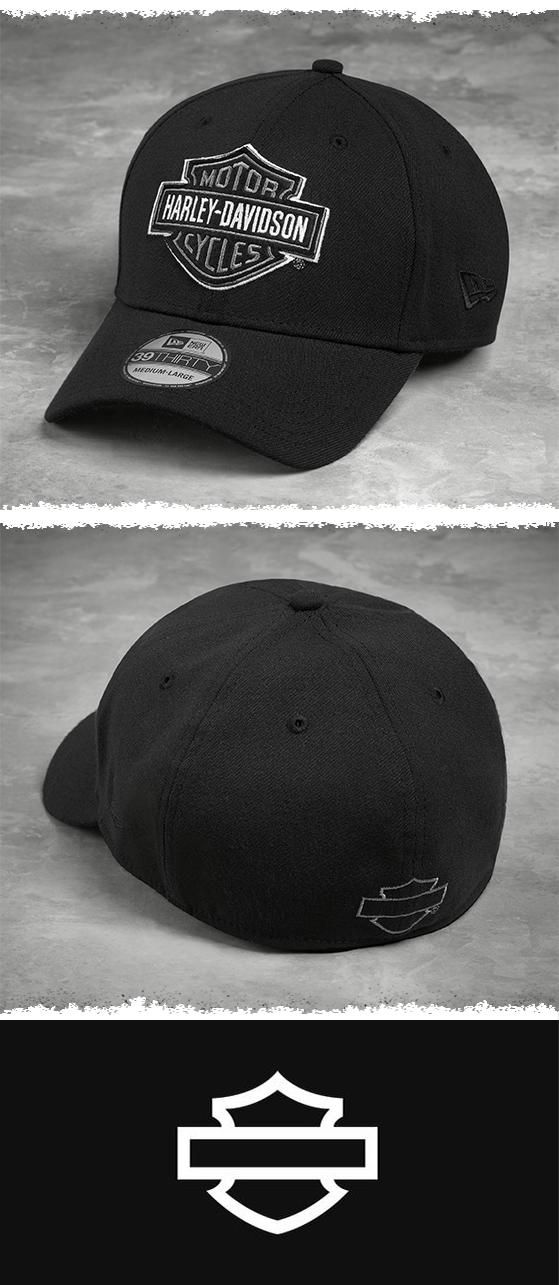 The classic Bar & Shield logo gives this men's baseball cap timeless style through all four seasons. | Harley-Davidson Men's Felt Patch 39THIRTY Cap
