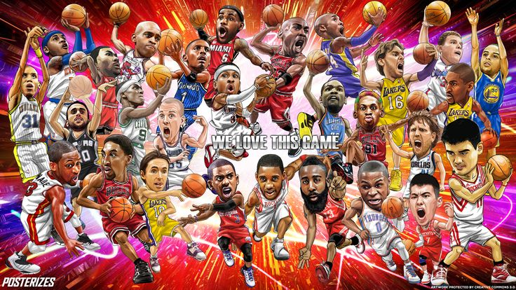 NBA Past And Present Cartoon Wallpaper