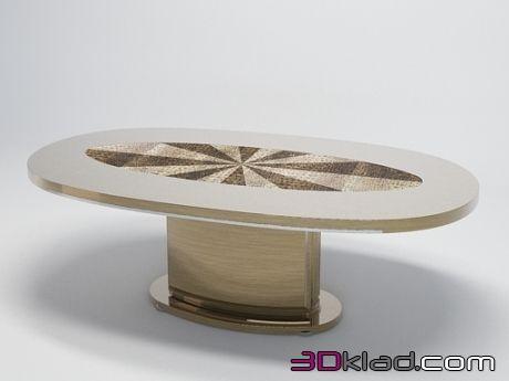 3d модель овальный стол с кожаной декоративной вставкой в столешнице Turri