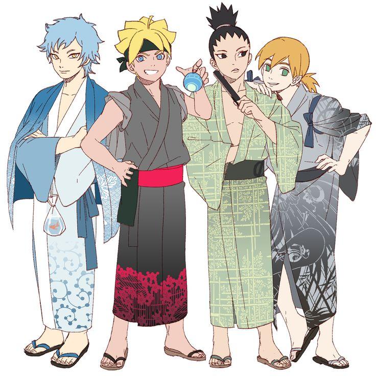 Mitsuki, Boruto, Shikadai, and Inojin #kimono | Naruto ...