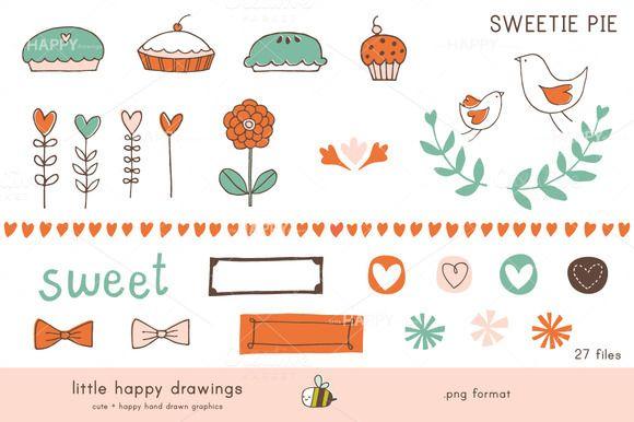 Sweetie Pie   Clip Art Set by littlehappydrawings on @creativemarket