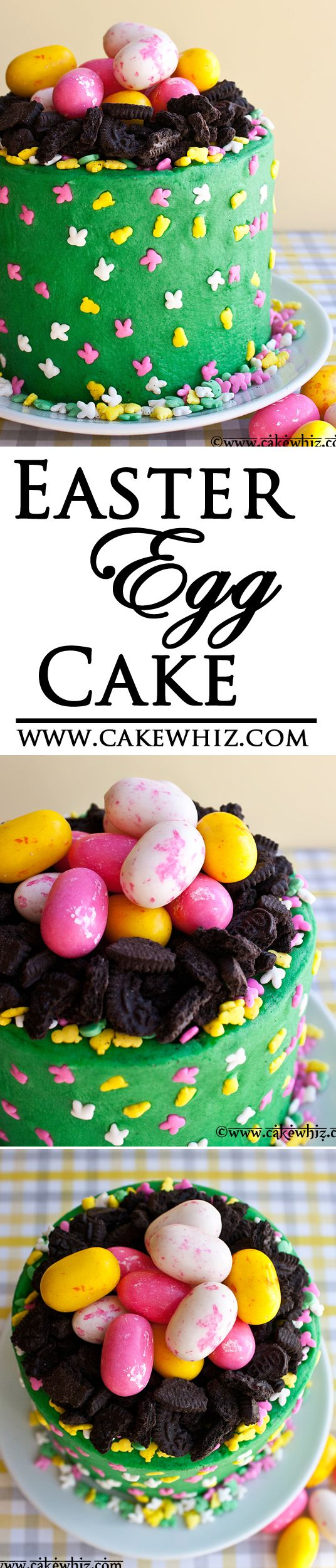 Mini EASTER EGG CAKE... so cute and colorful and very easy to make! Kids are gonna love this cake! From cakewhiz.com
