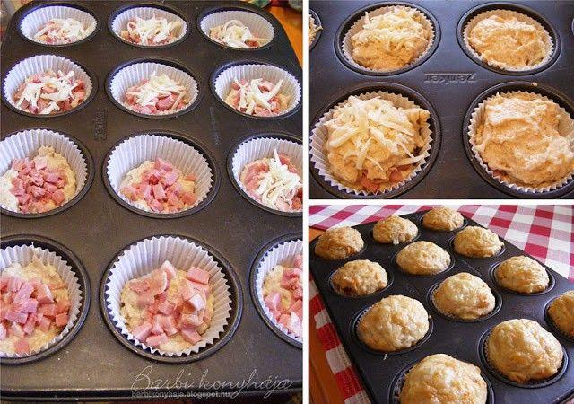 Sonkás-sajtos muffin recept