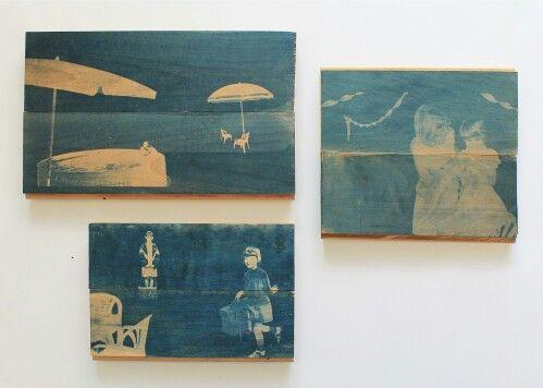 "from ""Acer Negundo"" series,2013-cyanotypes on wood (chloe obermeyer)"