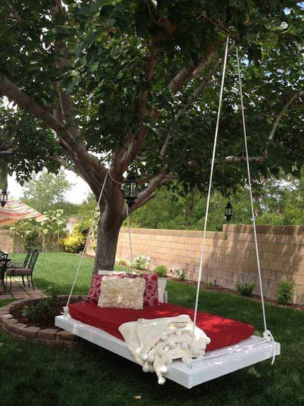 White painted diy swing bed: 19 Cozy Outdoor Hanging Beds to Help You Enjoy The Summer Nights