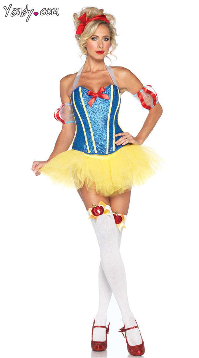 sultry snow white costume that includes a sequin corset matching tutu skirt puff sleeves and headband stockings and shoes not included - Womens Halloween Costumes Not Skanky