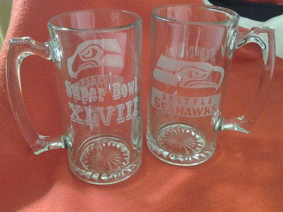 Seattle SeaHawks, Etched beer mugs, Superbowl beer mugs,Christmas Gifts,etched gifts,personalized mugs,sports team mugs,SeaHawks, superbowl