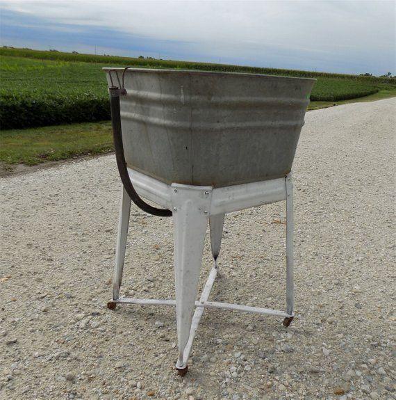 Wheeling Galvanized Single Wash Tub Sink Cooler Flower Pot Plant Stand Bucket Cq Wash Tub Stand Galvanized Tub Sink Rustic Planter In 2020 Galvanized Tub Sink Wash Tubs Wash Tub Sink