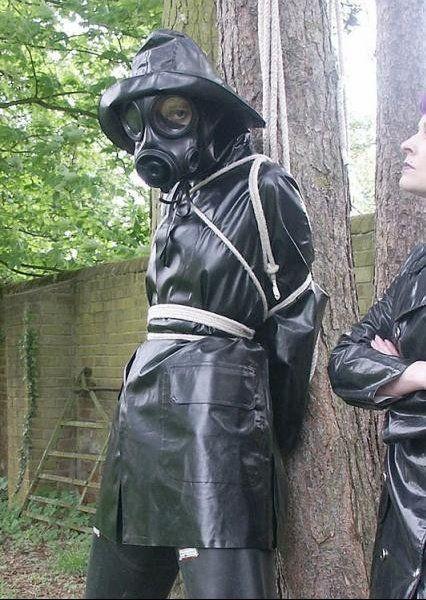 Raincoat bondage rubber