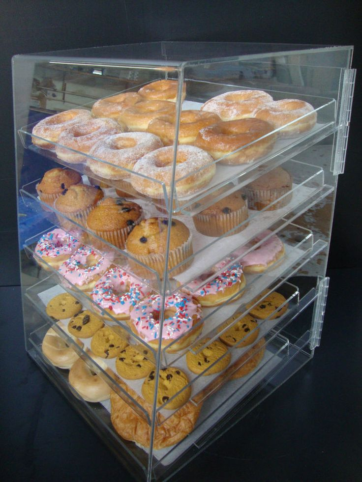 Acrylic Pastry Bakery Donut Bagels Cookie Display Case with  trays CUPCAKE stand #AcrylicOrganizerDisplay