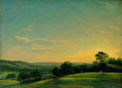 John Constable, Dedham Vale, Evening -  John Constable painted the country that British people like to identify with - the green rolling hills and agricultural landscapes. He was born in Suffolk and was inspired to paint the rural scenes around him, particularly Dedham Vale, in Essex.  http://www.bbc.co.uk/arts/yourpaintings/paintings/dedham-vale-evening-31244