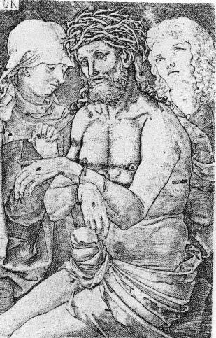 Ludwig Krug, Cristo dolente, 1520 ca. «Dobbiamo forse vedere, nel sommovimento del perizoma, un semplice gonfiarsi di pieghe vuote, o spiegare queste superfici con l'affiorare di forme sottostanti, come suggerimenti di una tumescenza fallica? Quest'ultima, poiché sicuri non possiamo essere, sembra un'idea sacrilega. (…) una risposta affermativa è resa cogente dall'esame di certe immagini del mistico Cristo Dolente, risalenti al 1520-1532, nelle quali l'erezione è lampante.» –Leo Steinberg
