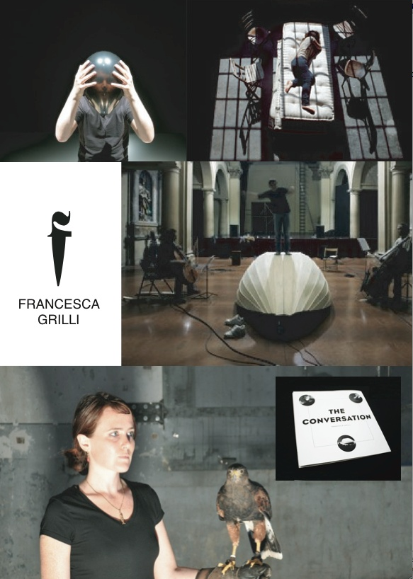 Francesca Grilli (b. in 1978, Bologna, Italy) lives and works in Amsterdam.  Between 2006 and 2008 she was a resident artist at the Rijksakademie van Beeldende Kunsten in Amsterdam and in 2009 was invited from Stedelijk Museum Bereau, SMBAto be part of Red AiR residency.  From 2008 she is a member of Fies Factory One.  In my research two potentially spinal aspects vibrate: the treatment of sound in all its forms and registers, and the viewer's space of action. The former is a linguistic…