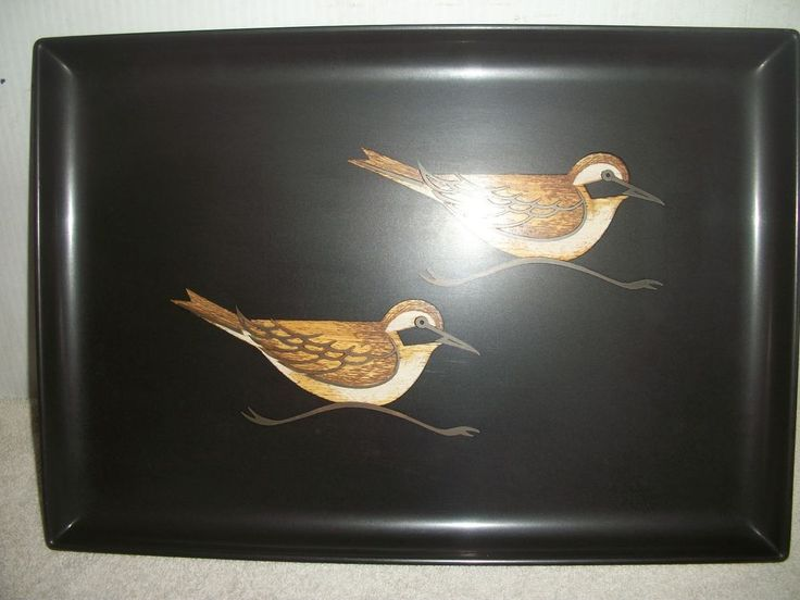 Vintage Rare Couroc Two Sand Piper Birds Inlaid Serving Tray, Monterey MCM #CourocofMonterey