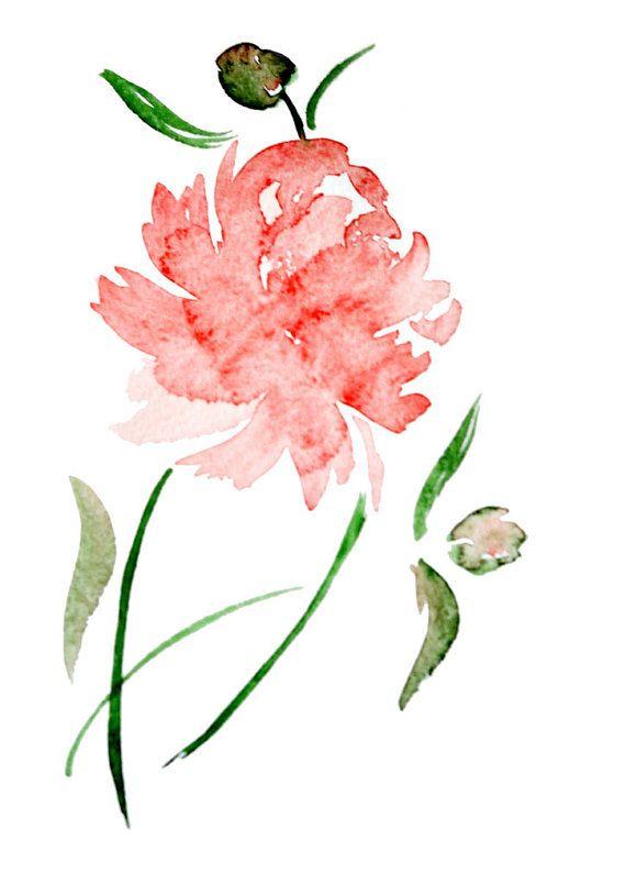 WatercolorrosepinkpeonyflowerarchivalprintbyYUNILIsmiles3