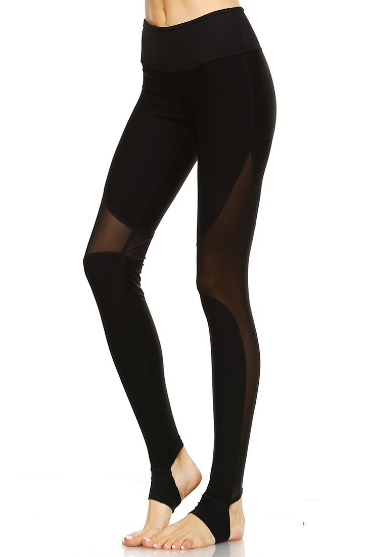 Stirrup Leggings with Mesh Cutouts