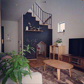 kuronekoさんのリビング,無印良品,ソファ,アイアン手摺,ローテーブル,unico,黒板塗装,吹き抜けリビングについての部屋写真