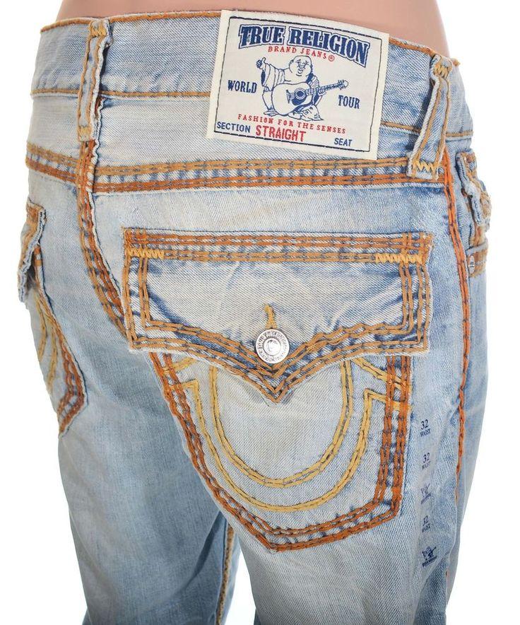 True Religion Mens Jeans Size 32 Super QT Straight w Flaps Diamond GHO NWT $392 #TrueReligion #ClassicStraightLeg