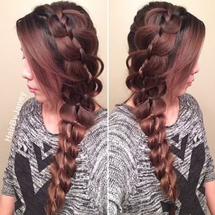 Instagram foto por hairbyjaney -  amar a todos o grande trança lateral da conta do guy_tang sooo aqui eu fiz a 4 vertente grande trança lateral robusta inspirada porguy_tang # cara-tang #braid #braidlife #fishtailbraid #mermaidbraid #weddingupdo #bridalhair #bridalupdo # updo #instabraid #hairpostos #cutegirlshairstyles #summerhair #beachhair #ipweeklydo #beachhair #beachywaves #beachday #sunnyday #braidtrends #braidsforgirls #braidphotos #bridalupdo #long_hairstyles…
