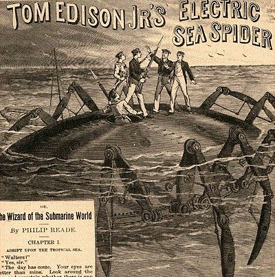 Edison and his inventions provided a wealth of new subject matter for dime novel publications. In this issue number 134 of The Nugget Library, the fictional hero is none other than Tom Edison Jr., a young genius inventor who supposedly follows in his father's footsteps.