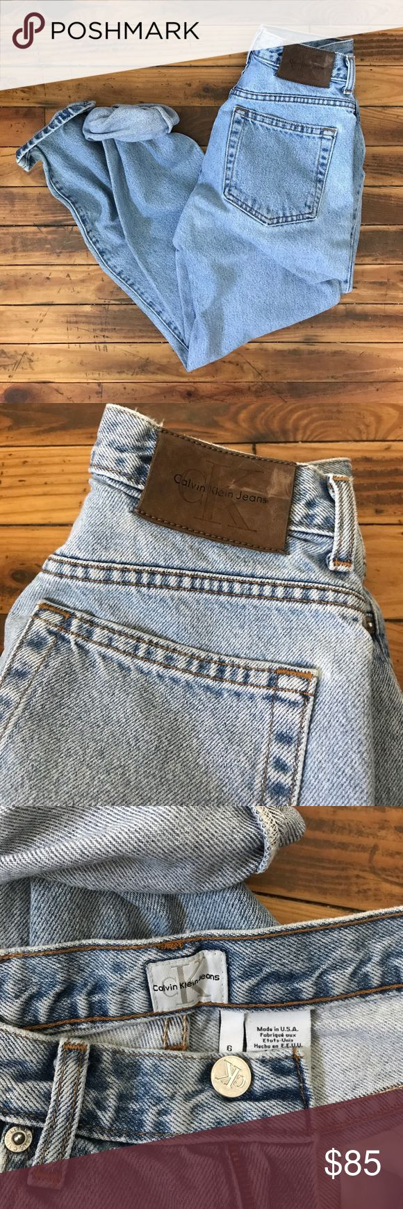 "VINTAGE union made Calvin Klein light wash jeans high waisted light wash CK jeans from the early 1980s. marked size 6. actual flat measurements are - waist 13"", hips 19"", front rise 11 1/4"", back rise 15"", inseam 28.5"", outseam 39"", leg opening 6.5"". in excellent vintage condition with overall gentle wear, soft, broken in but no major flaws! leather logo patch on back. very flattering tapered high-waist cut, especially on women with a tiny waist and fuller hips! gorgeous vintage denim! no…"