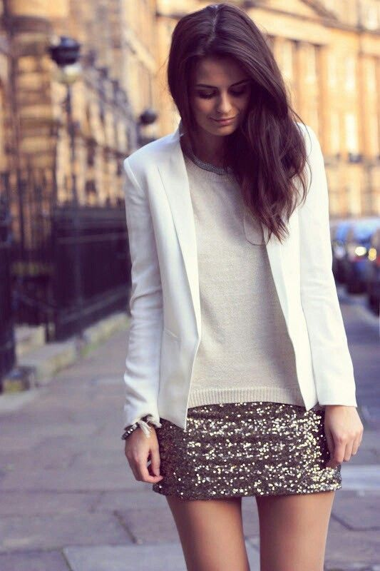 #what_to_wear_with_skirts #fashion #women #femininity #elegance #sequin_skirt