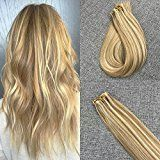 Moresoo 22inch Glue in Hair Extensions Tape in Human Hair Brazilian Remy Hair Extensions Silky Straight Color #10 Brown Highlighted with #60 Blonde Tape Hair Extensions Glue in Hair 20PCS 50G