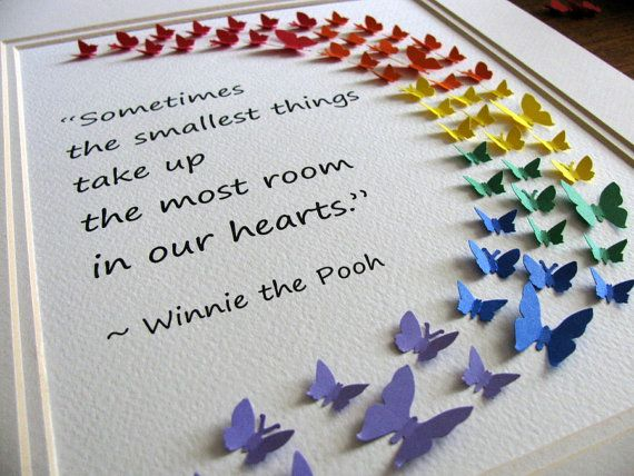 Winnie the Pooh Smallest Things Rainbow 3D Mini Butterfly Word Art. Adoption. Baby Shower. You Choose Quote & Colours. 8x10. Made to Order