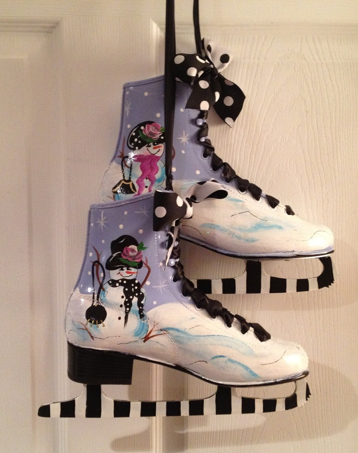 Hand Painted Ice Figure Skates PAIR snowman by paintingbymichele