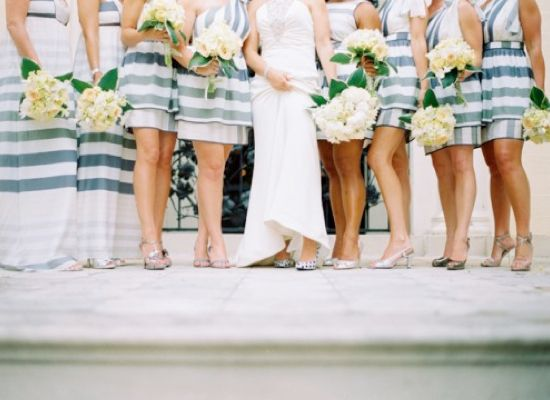 Striped Bridesmaid Dresses really could tie in with a striped tie.  So many choices!