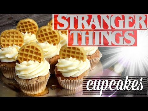 STRANGER THINGS CUPCAKES || Maple Cupcakes w/ Eggo Waffles - YouTube