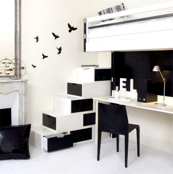 Espace loggia lit mezzanine escalier brick NB meuble contemporain design gain de place