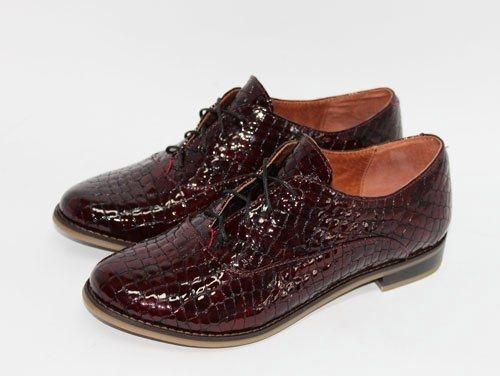 """Бордовые туфли """"оксфорды"""" под кожу рептилии"""