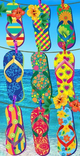 KAUFMAN   Tropical Flip Flop Beach, Bath, Pool Towel.
