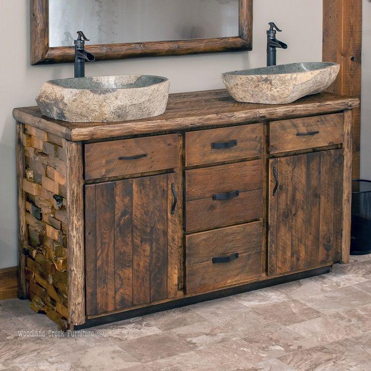 Westcliffe pointe rustic log vanity 48 72 sinks vanities and rustic master bathroom for Rustic bathroom vanities and sinks